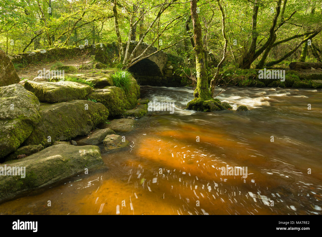 Hisley Bridge over the River Bovey in Dartmoor National park near Lustleigh, Devon, England. - Stock Image