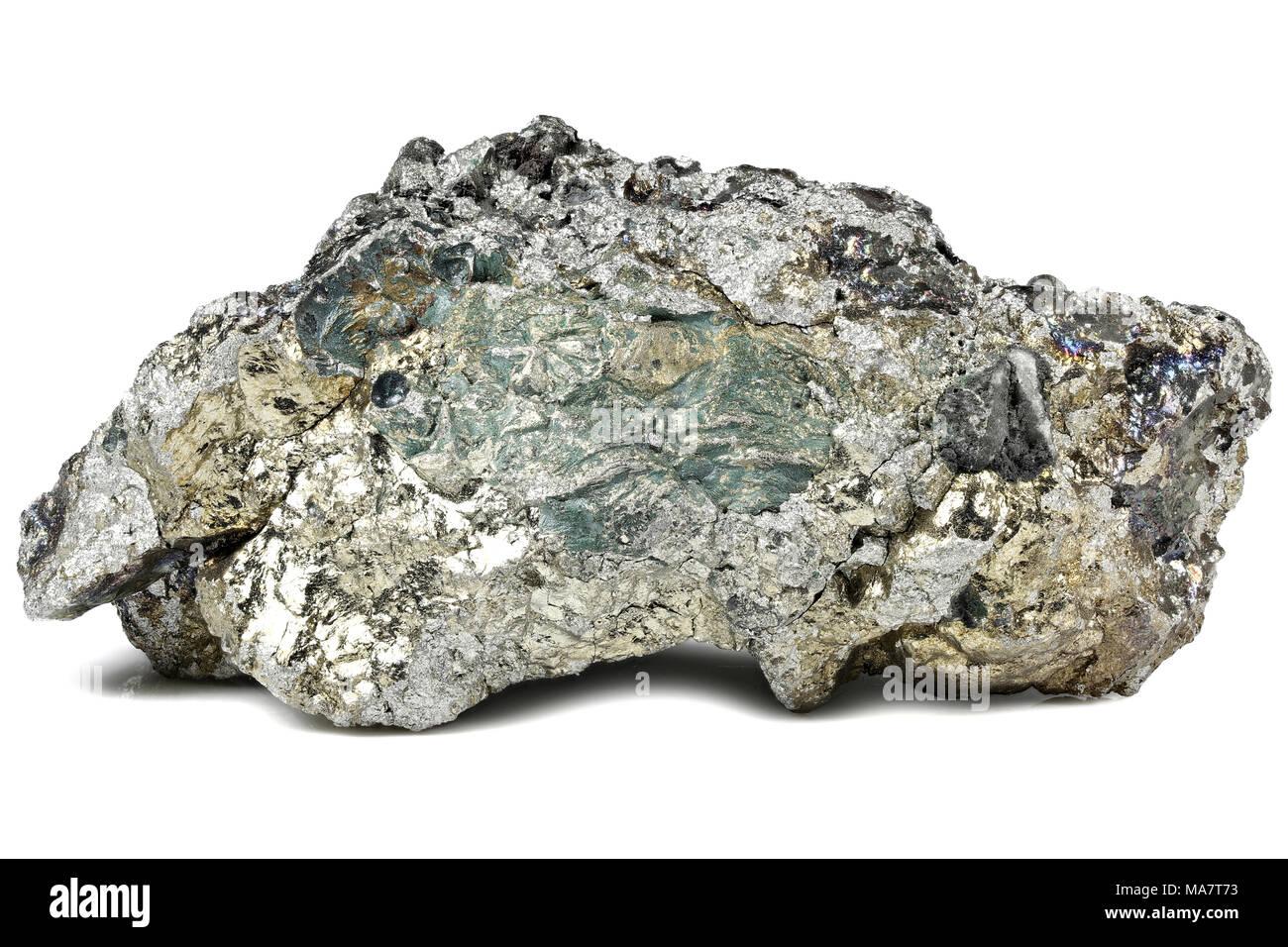99.7% fine manganese isolated on white background - Stock Image