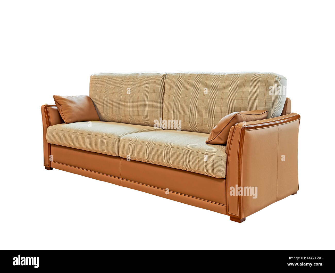 Classical Leather, Wood And Fabric Sofa Isolated On White With Clipping Path
