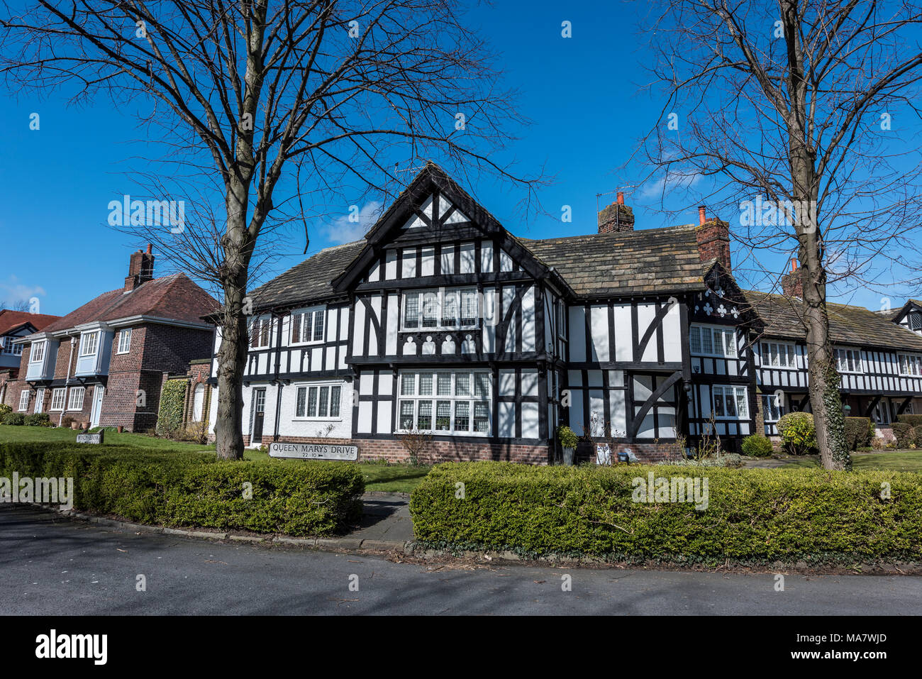historic houses buildings port sunlight wirral merseyside north west england uk - Stock Image
