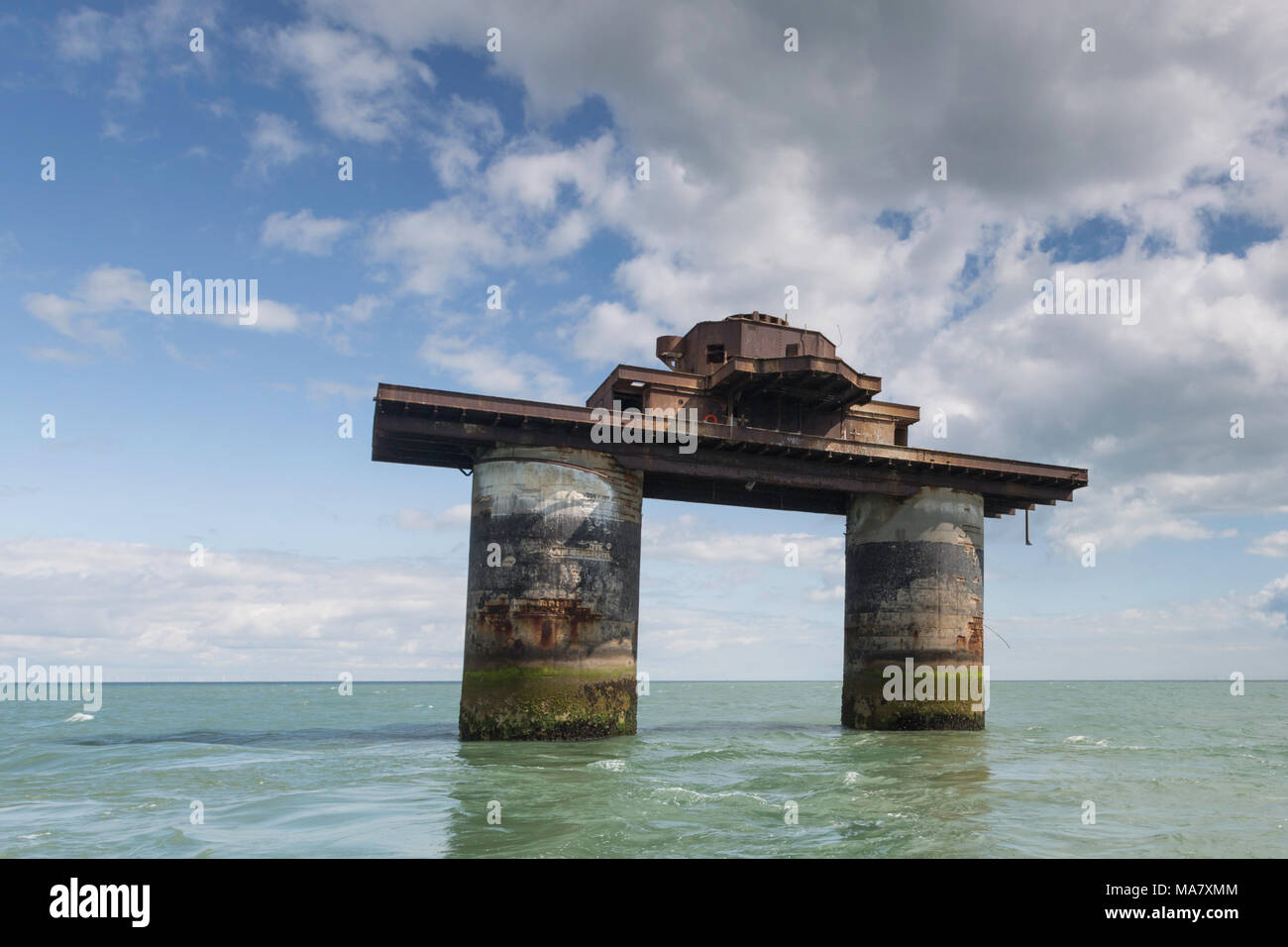 The World War II Maunsell Forts in the Thames Estuary off the North Kent coast. - Stock Image