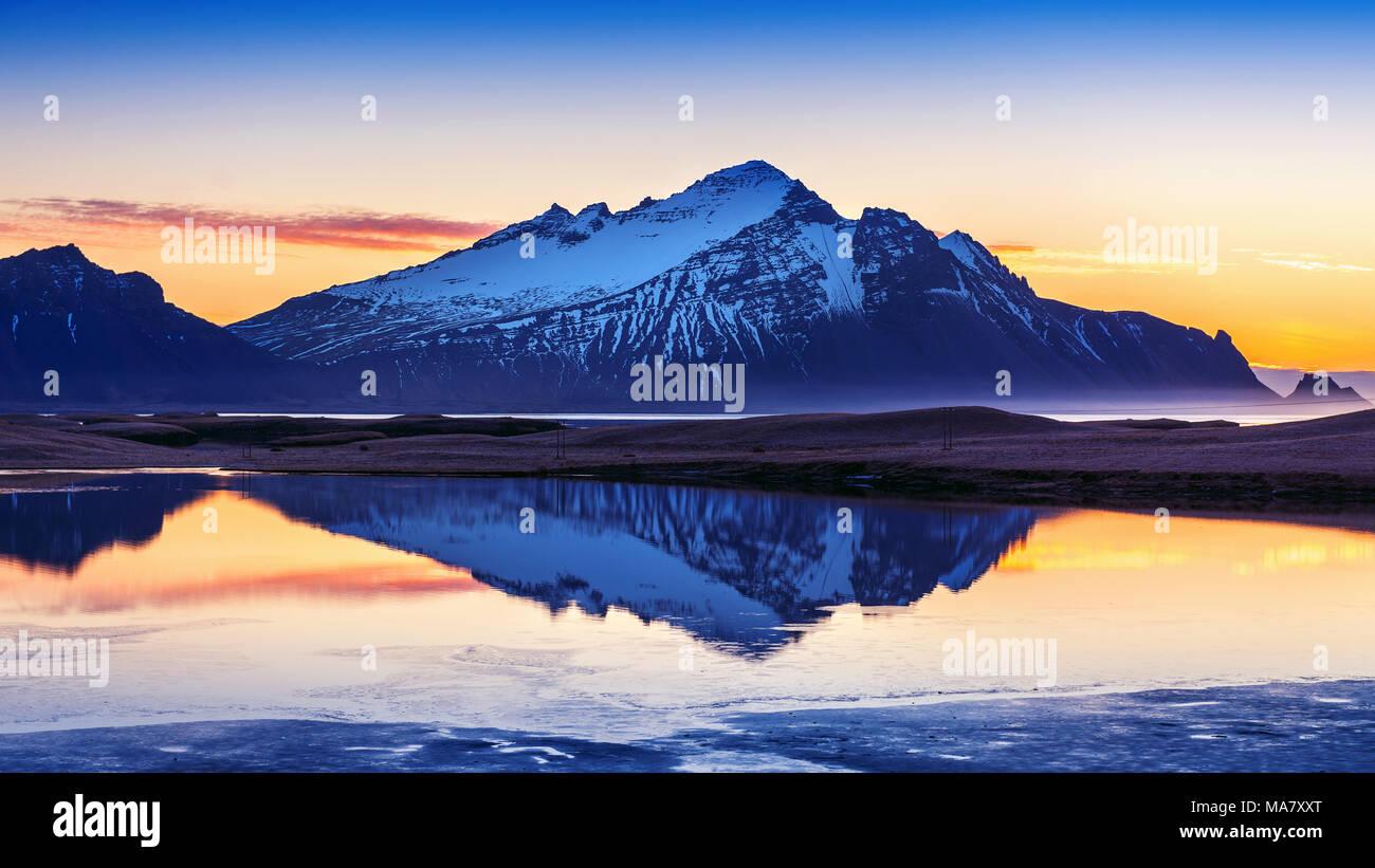 Vestrahorn mountains at sunrise in Stokksnes, Iceland. Stock Photo