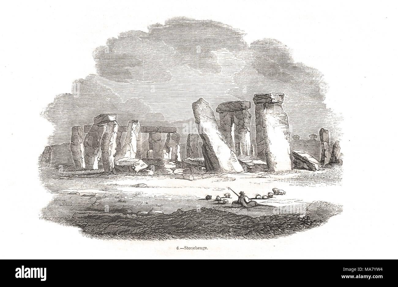 Stonehenge prehistoric monument, Wiltshire, England - Stock Image