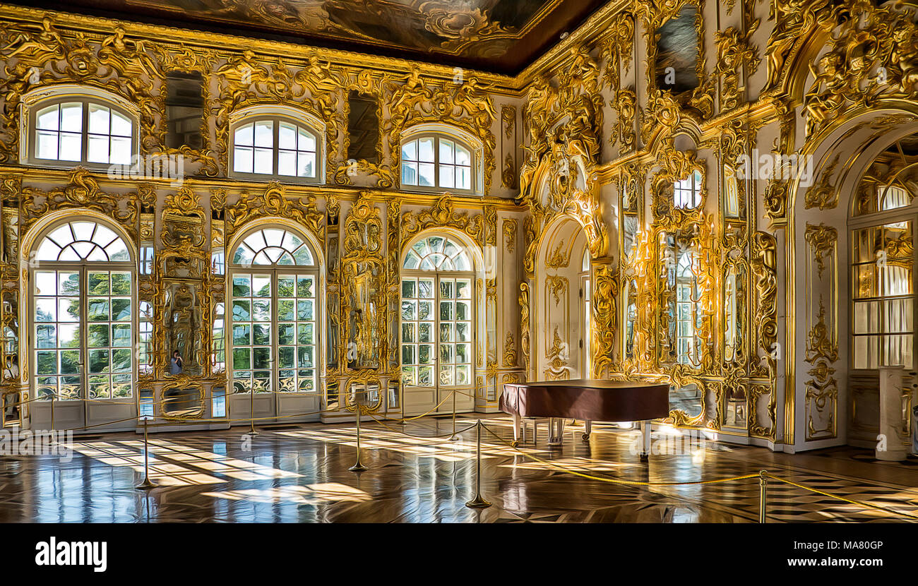 Catherine Palace - Saint Petersburg. The ballroom. - Stock Image