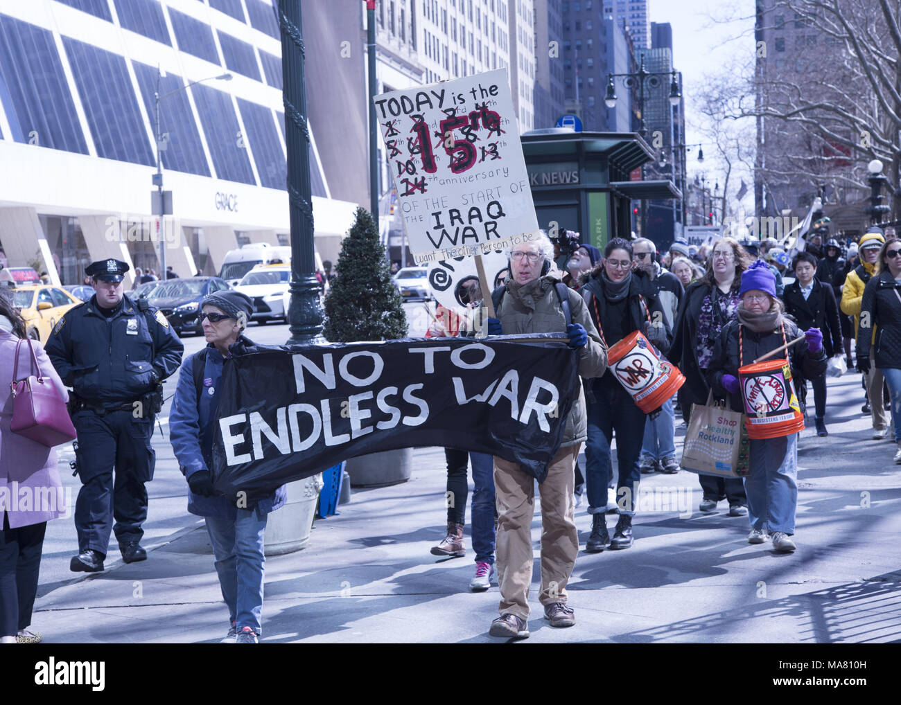 On the 15th Anniversary of the American war in Iraq peace activists critical of America's aggressive military actions around the world came to speak out against all US military aggression. New York City. Stock Photo