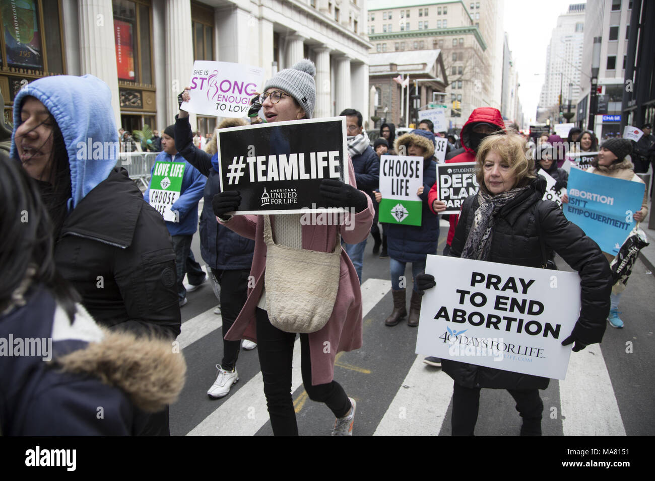 International Gift Of Life annual rally and walk of  Pro-Life groups & individuals took place on Palm Sunday March 24, 2018 in lower Manhattan. - Stock Image
