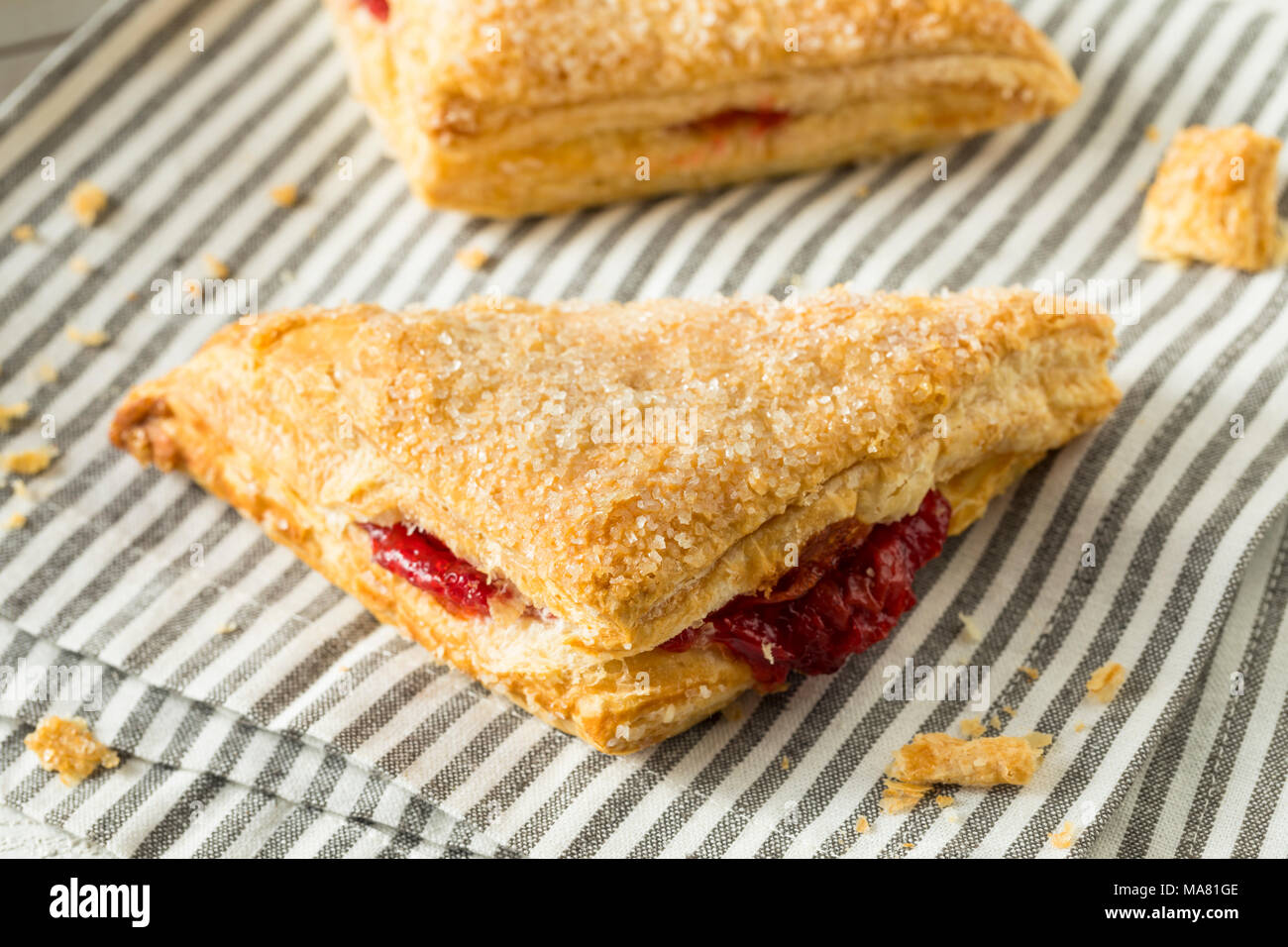 Homemade Cherry Turnover Pastries Ready to Eat - Stock Image