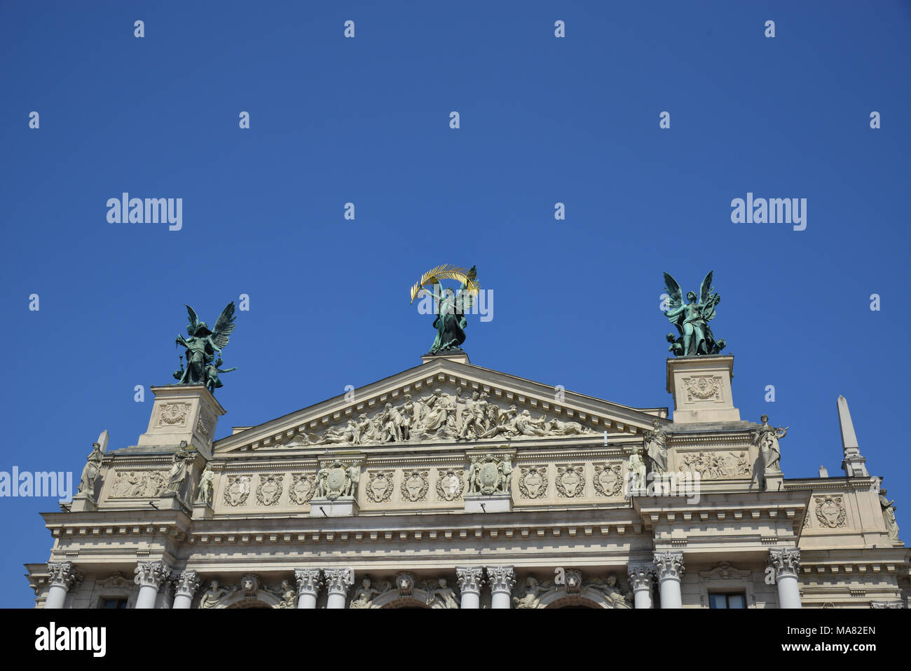 The famous Solomiya Krushelnytska Opera in Lviv with the statue of glory on a perfect summer day. - Stock Image
