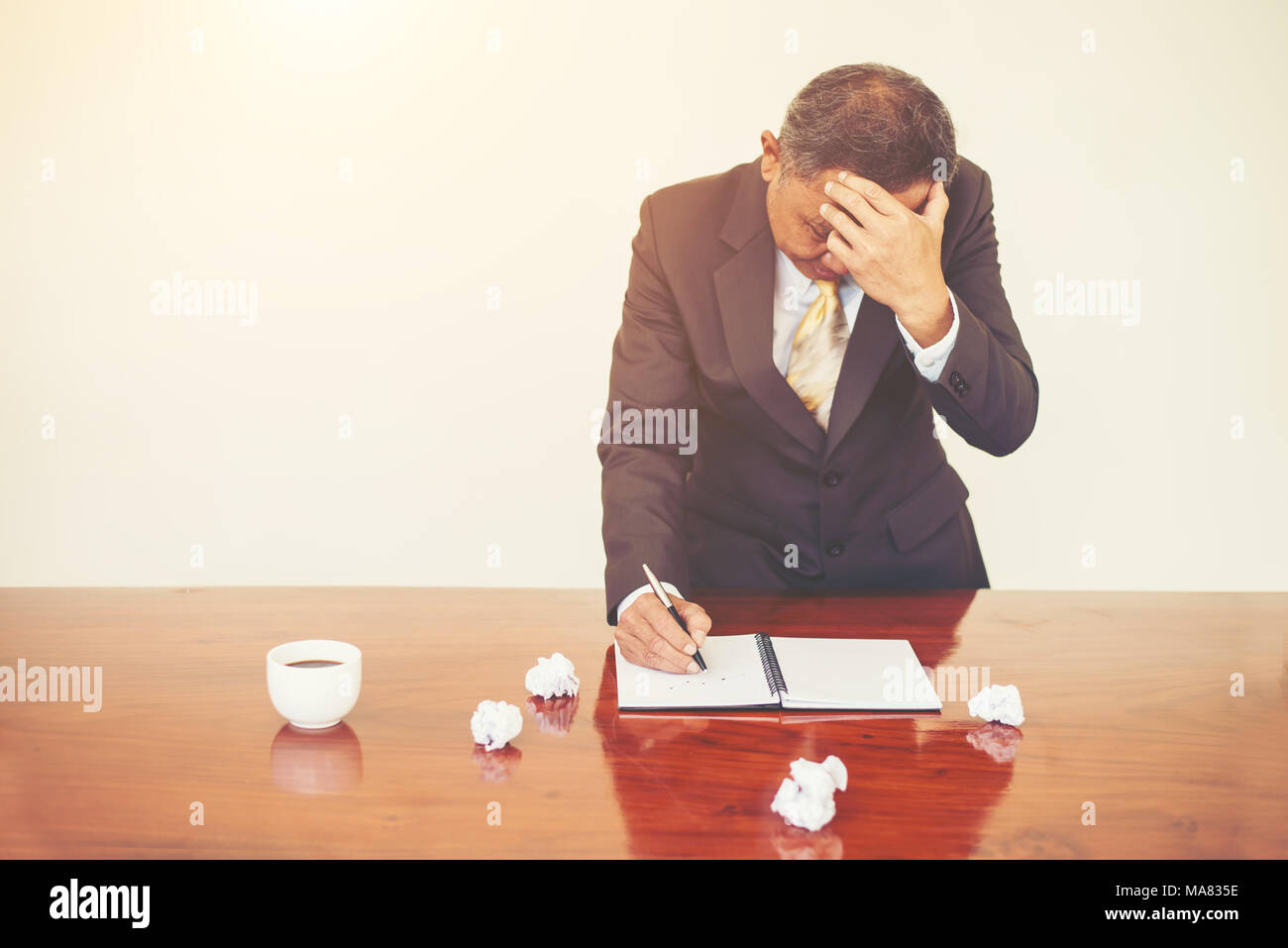 Big boss stressful with his work in office, Mistake with work. - Stock Image