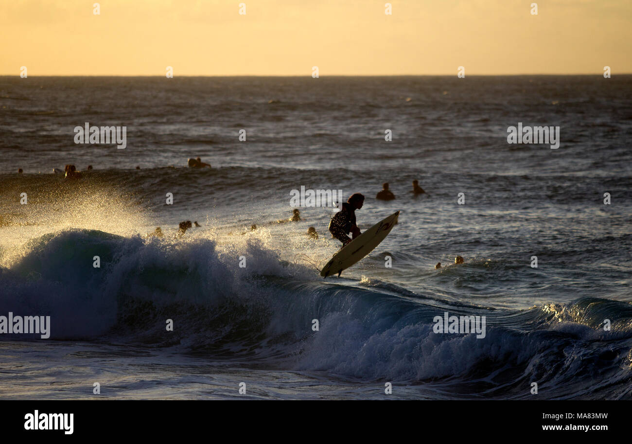 Surfing at Pipeline, North shore of Oahu Stock Photo