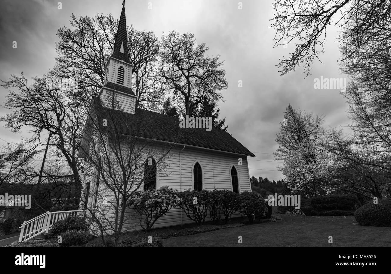 Little Church near the Williamette River, Portland Oregon USA - Stock Image