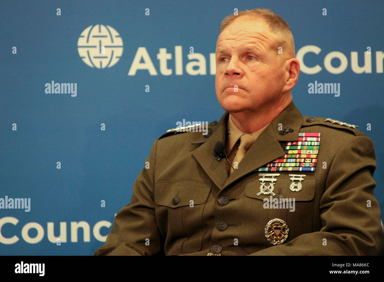 Commandant of the Marine Corps Gen. Robert B. Neller speaks to guests at the Atlantic Council, Washington, D.C., March 29, 2018. Neller spoke about the National Defense Strategy and the Marine Corps. (U.S. Marine Corps photo by Sgt. Olivia G. Ortiz) Stock Photo
