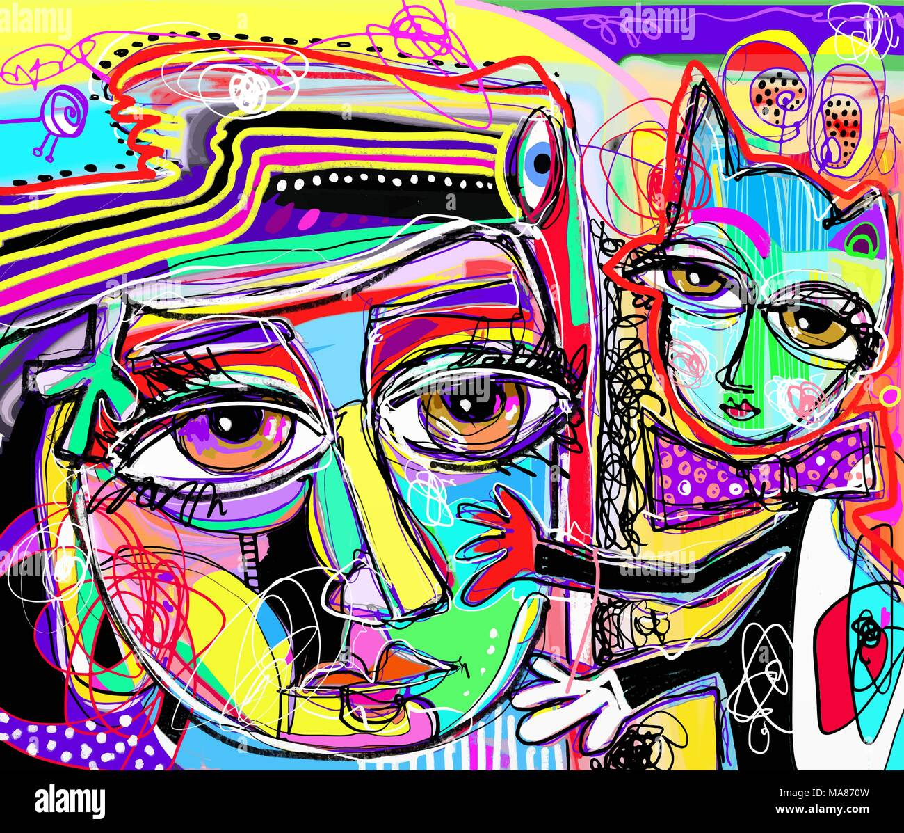 original abstract digital painting of human face with a cat