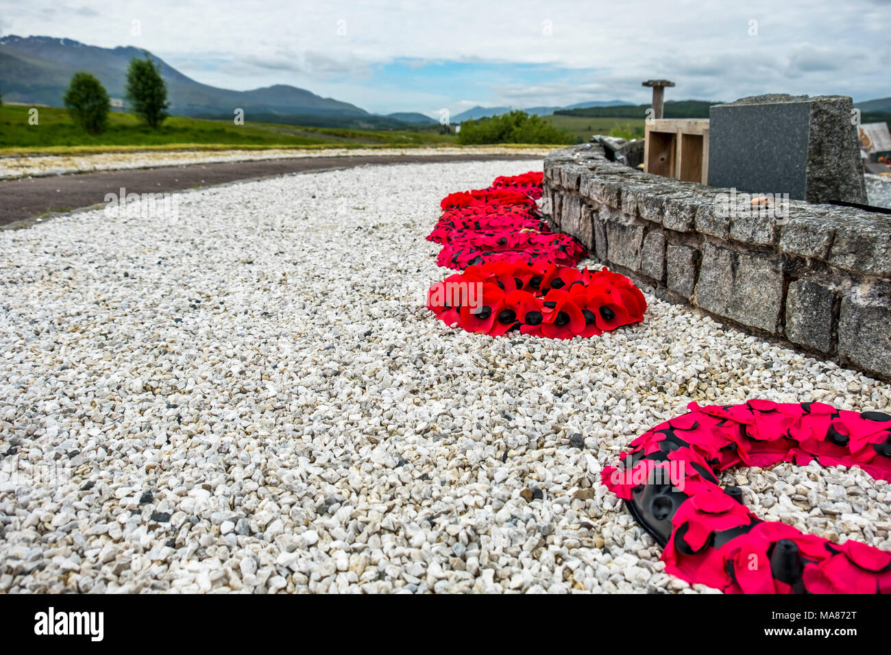 Remembrance day poppies laying close to the commando memorial in Spean bridge, Scotland - United Kingdom. Stock Photo