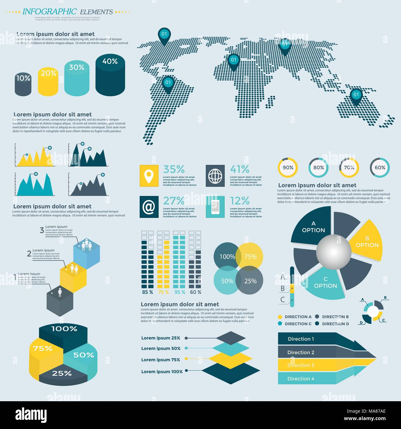 infographics elements collection business vector illustration for