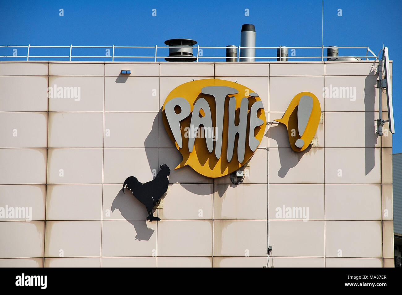 Pathe Logo on the wall, somewhere in Netherlands, Europe - Stock Image