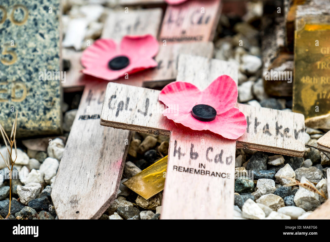 SPEAN BRIDGE / SCOTLAND - MAY 31 2017 : Memorial place for the fallen with poppies and crosses in Scotland Stock Photo