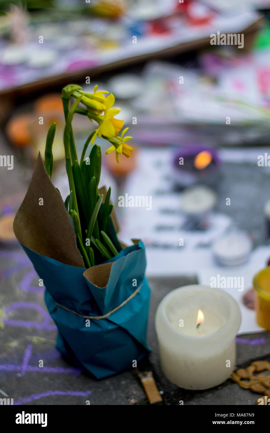 Brussels, Belgium, 24 March 2016: The day after the terrorist attack in Brussels - Stock Image