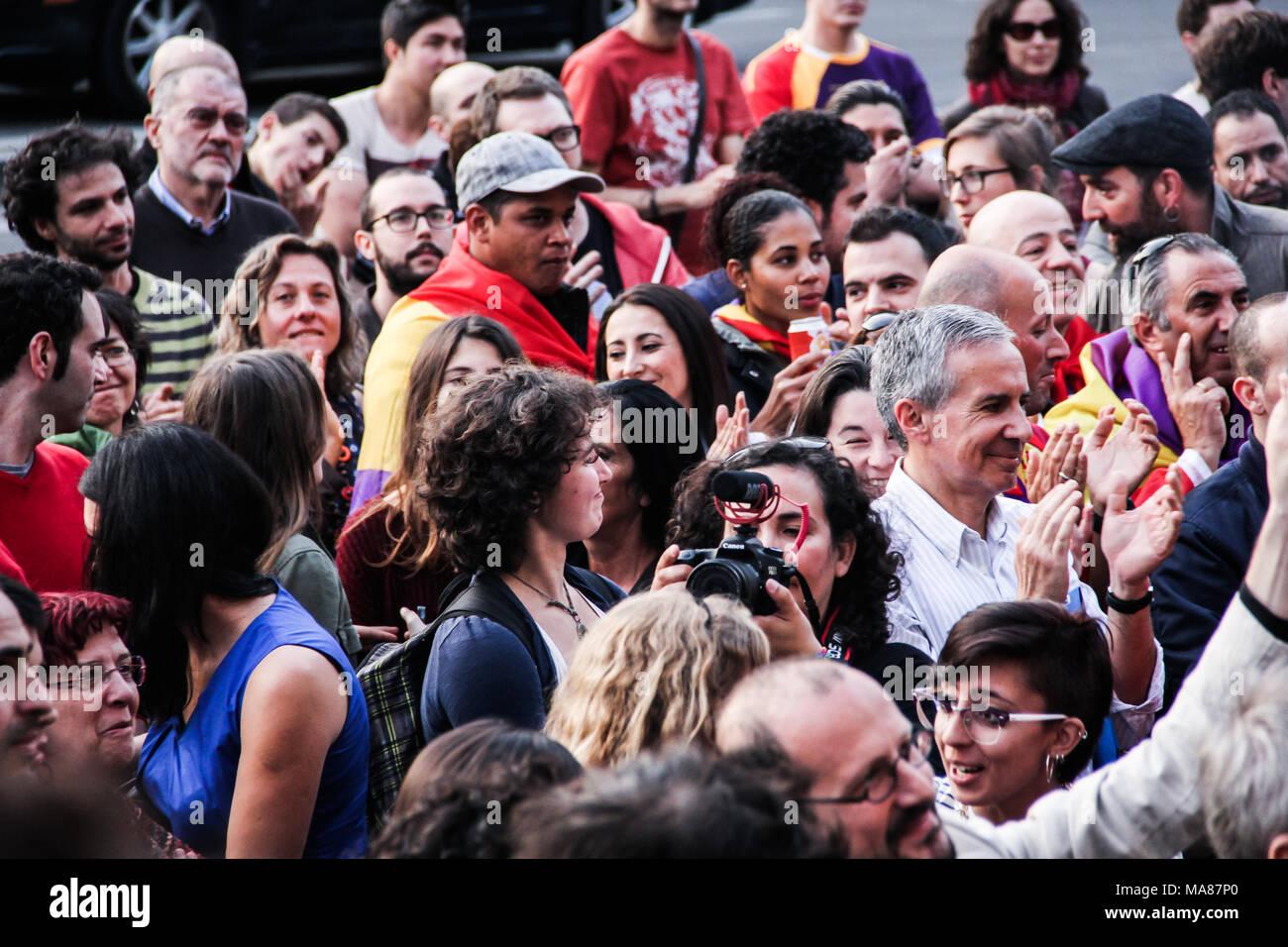 BRUSSELS, BELGIUM, 3 June 2014: Spanish community in Belgium protesting against the Spanish Monarchy - Stock Image