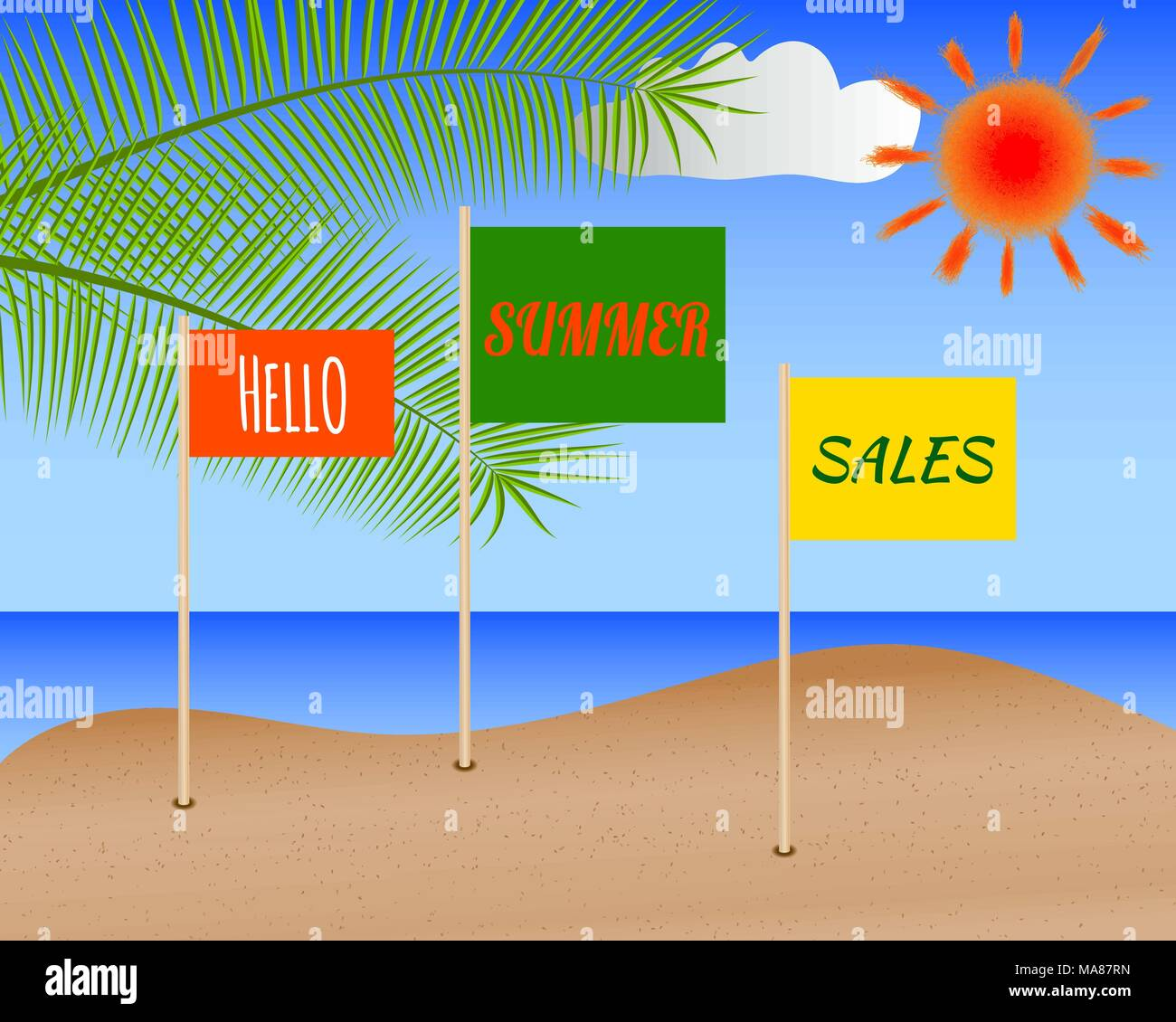Summer shopping poster. Sale discount banner with seascape, sun, palm leaves and flags with lettering Hello summer sales - Stock Image