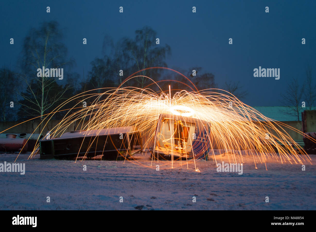 Amazing steel wool fire, the concept of industrial landscape Stock Photo
