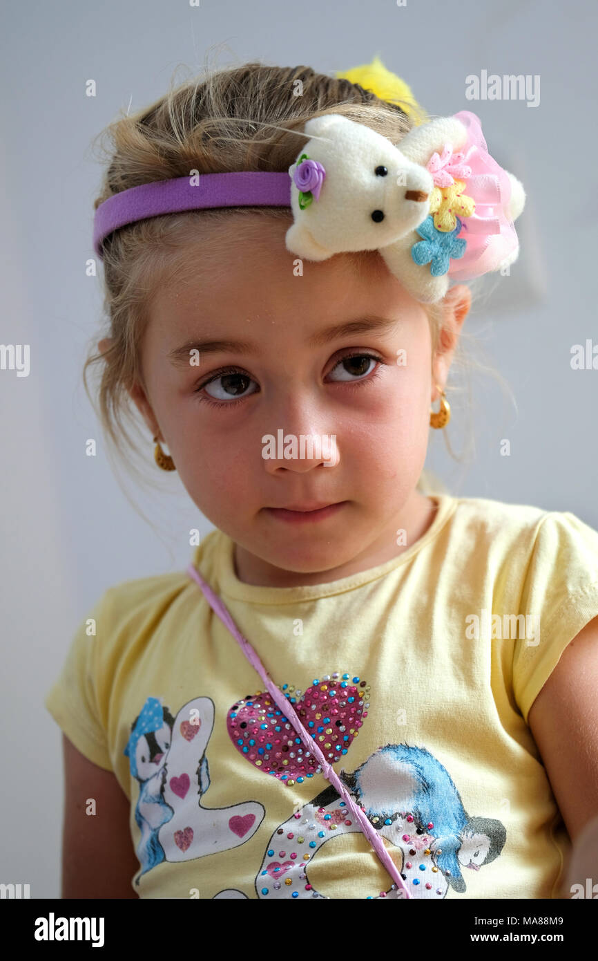 Girl in the kindergarten of the Christian Aid Program CAPNI in the Chaldean village Teleskuf in the Nineveh Plain, Northern Iraq, Kurdish Autonomous Region Stock Photo