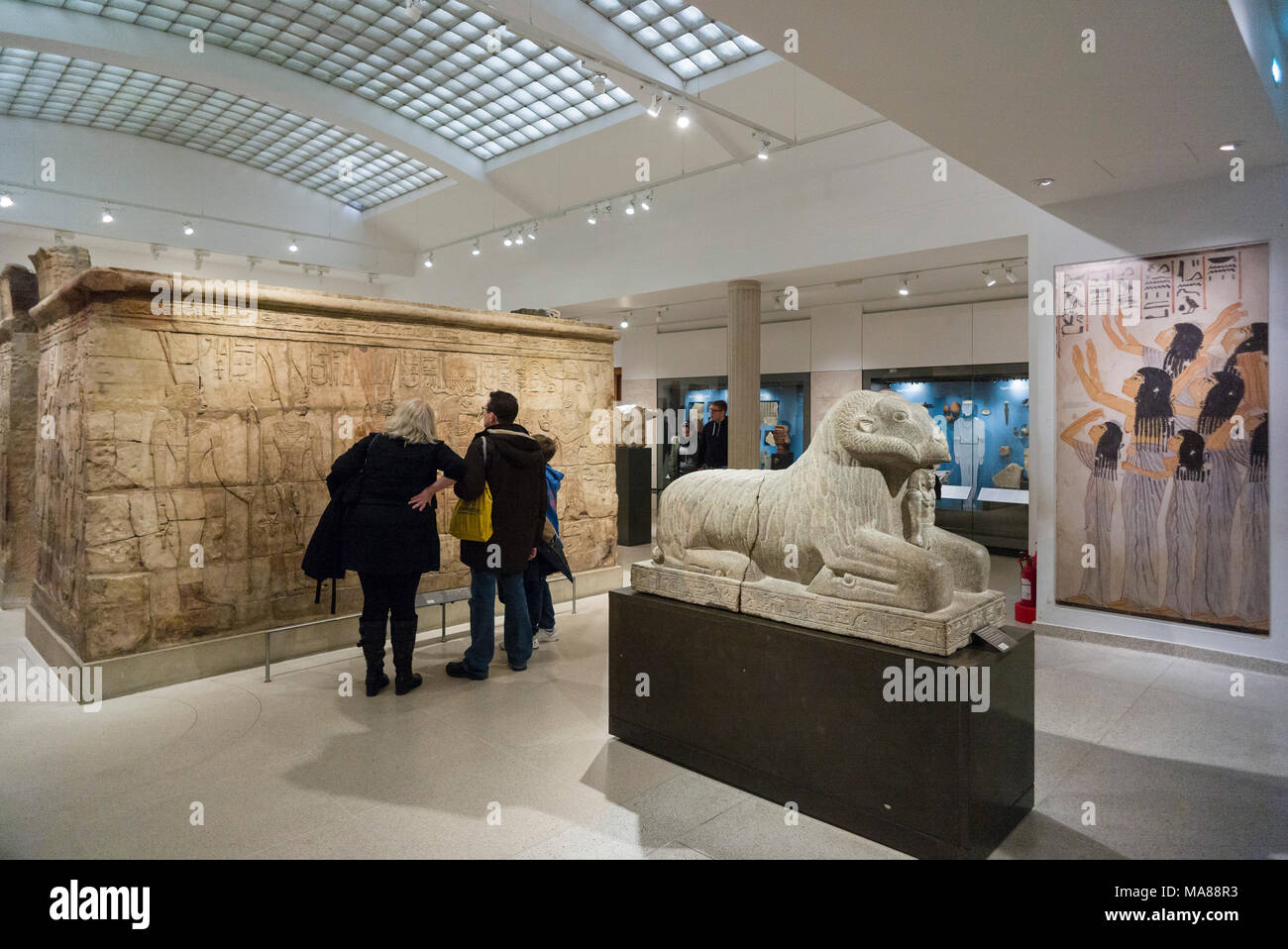 Oxford. England. Ashmolean Museum, Egyptian Galleries the shrine of King Taharqa (690–664 BC), and ram of Amun.  Sandstone shrine built by King Taharq - Stock Image