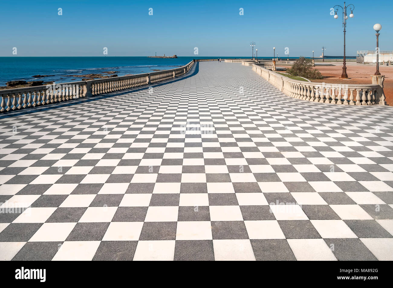 View of the famous Terrazza Mascagni in Livorno, Tuscany, Italy ...