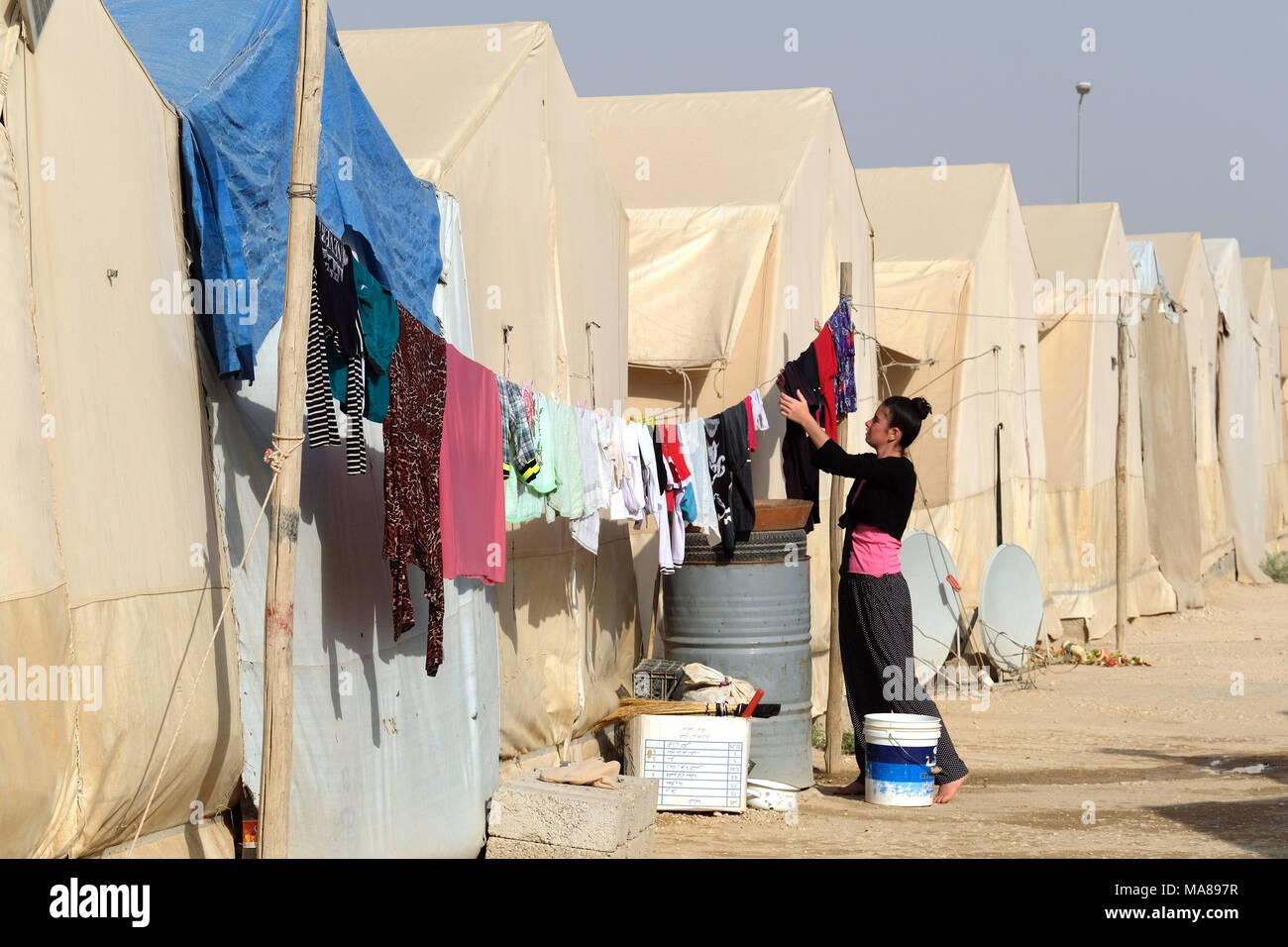 Sharya camp for Yazidi internally displaced people near Duhok, northern Iraq, Kurdistan Region, Iraqi Kurdistan region, Iraq - Stock Image