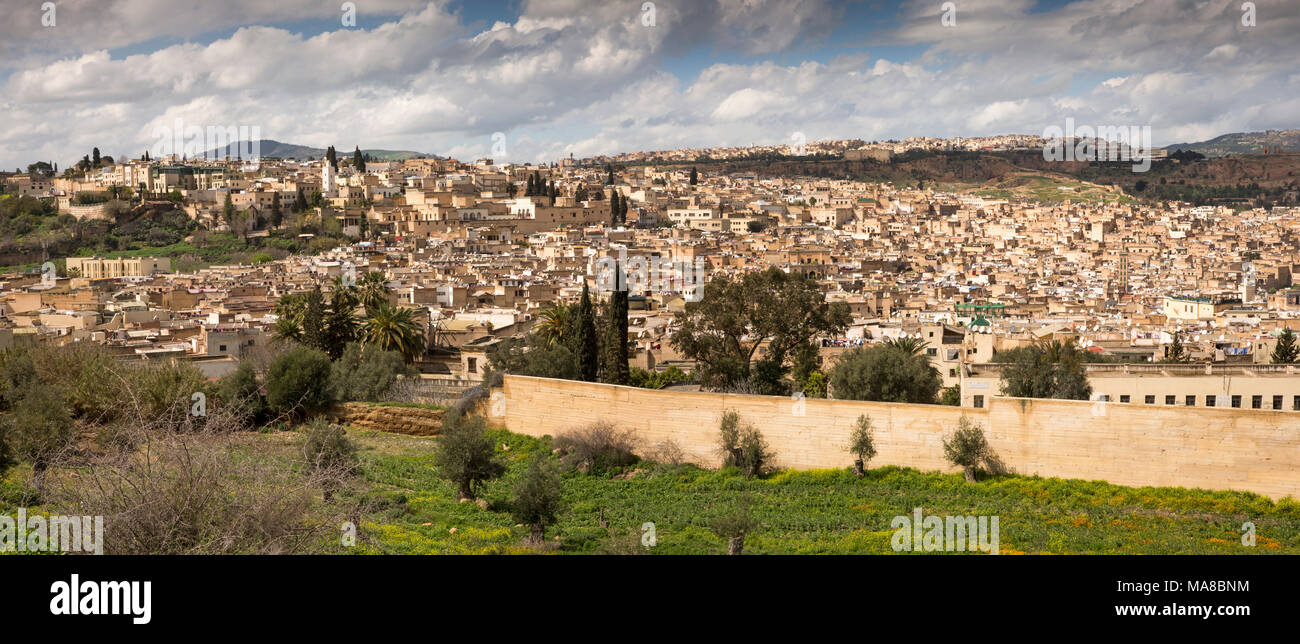 Morocco, Fes, panoramic view of Fes el Bali medina from below Borj Sud Stock Photo