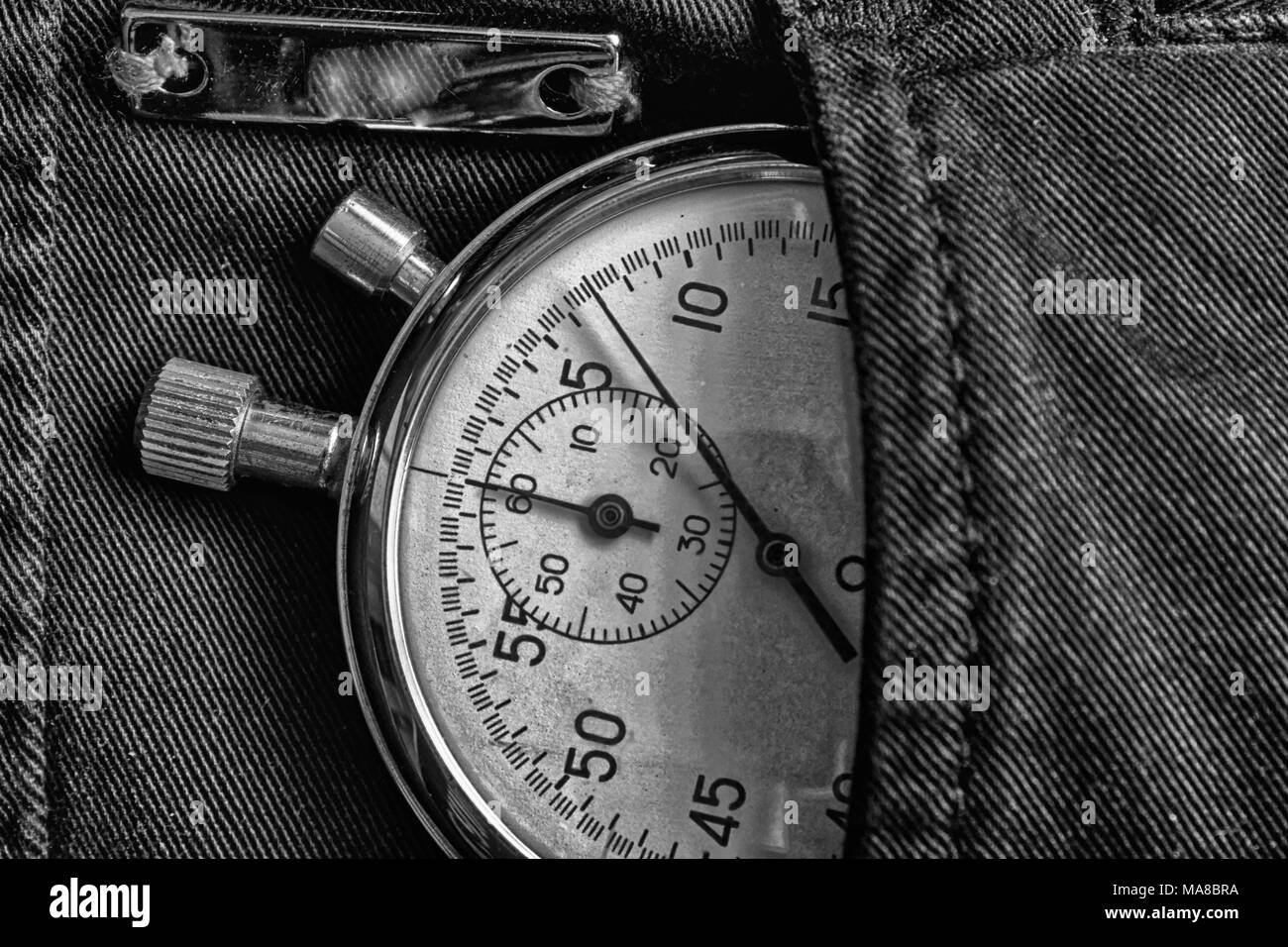 Vintage Antiques Stopwatch In Black Denim Pocket With Reflection Plank Value Measure Time Old Clock Arrow Minute Second Accuracy Timer Record