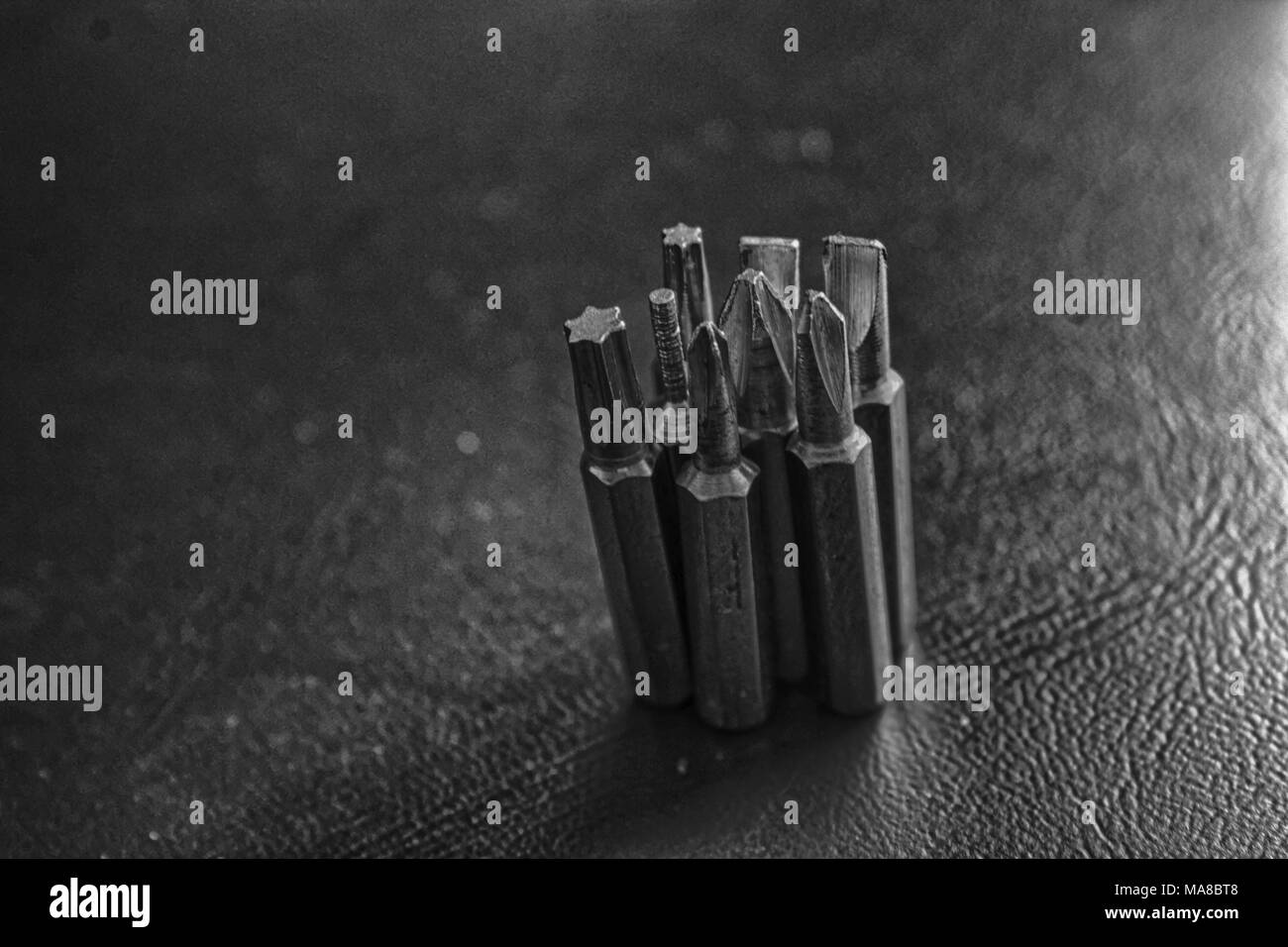 Head for screwdriver (bits) on blue background, Tools collection turn-screw. - Stock Image
