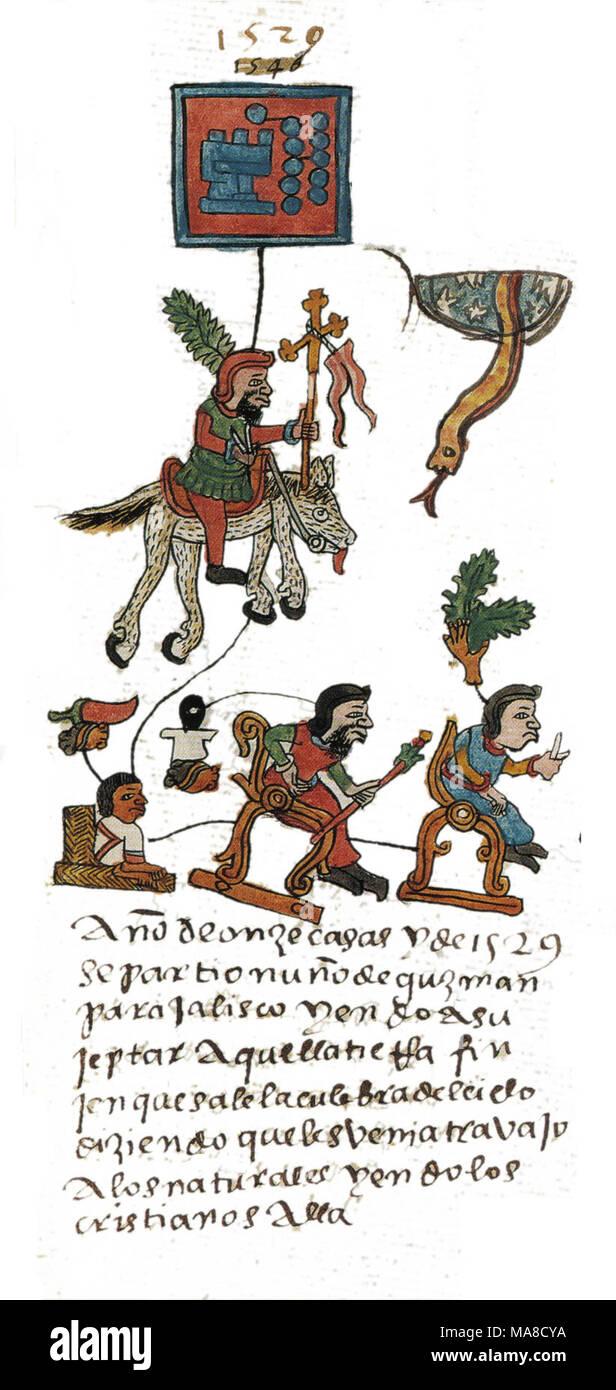 Conquistador Nuño Beltrán de Guzmán as depicted in Codex Telleriano Remensis. - Stock Image
