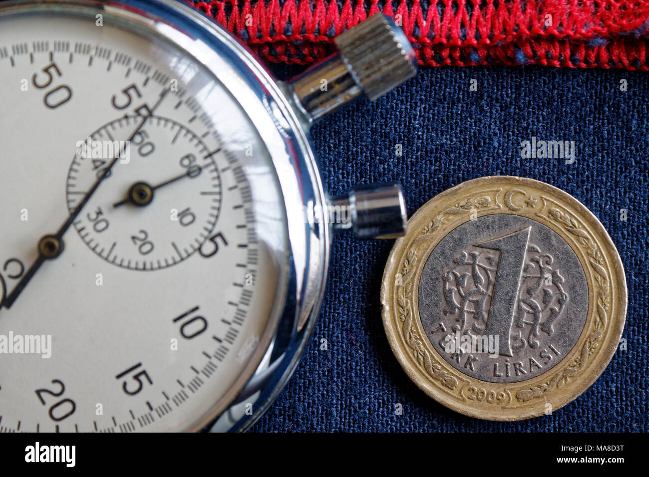 Turkish coin with a denomination of one lira and stopwatch on blue denim with red stripe backdrop - business background Stock Photo