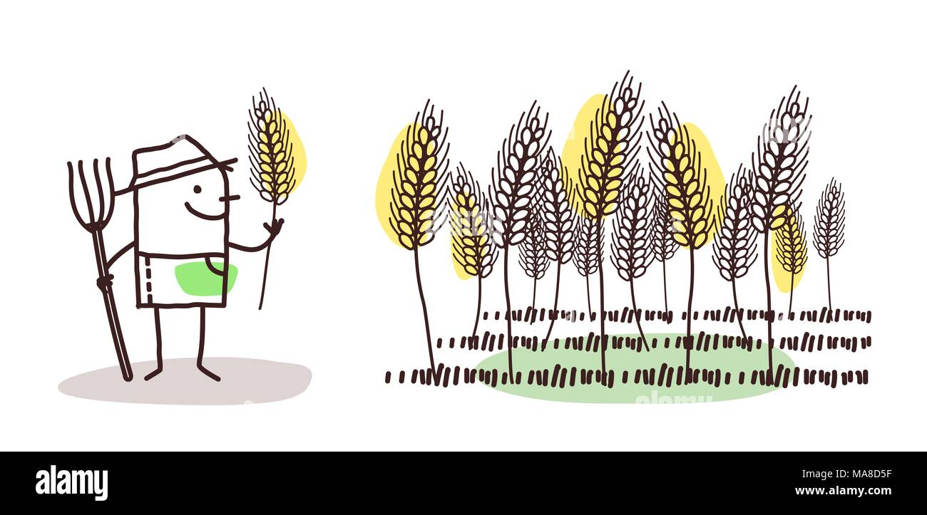 Cartoon Farmer and Wheat Field - Stock Vector