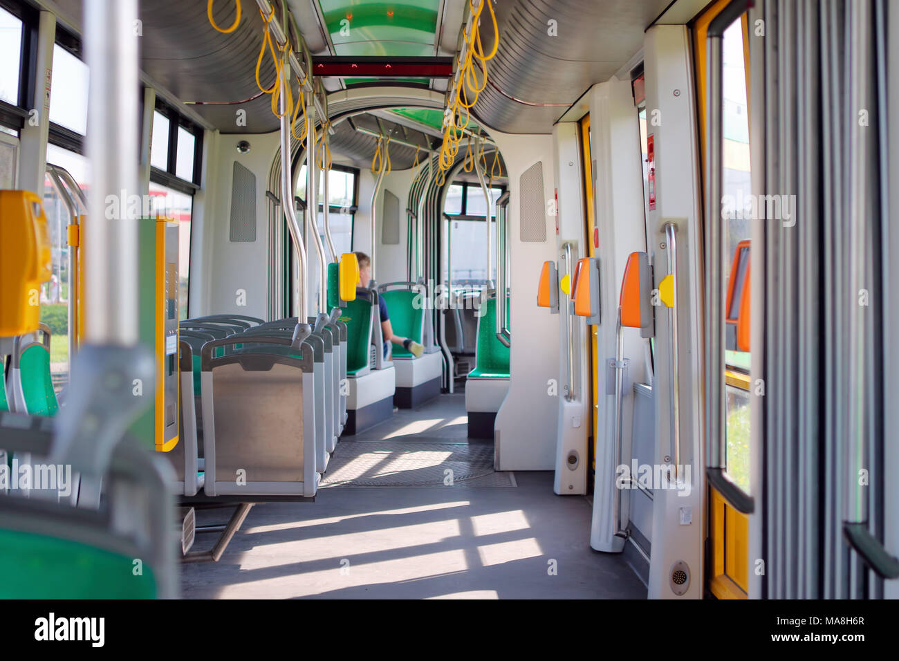 Modern city tram interior - Stock Image