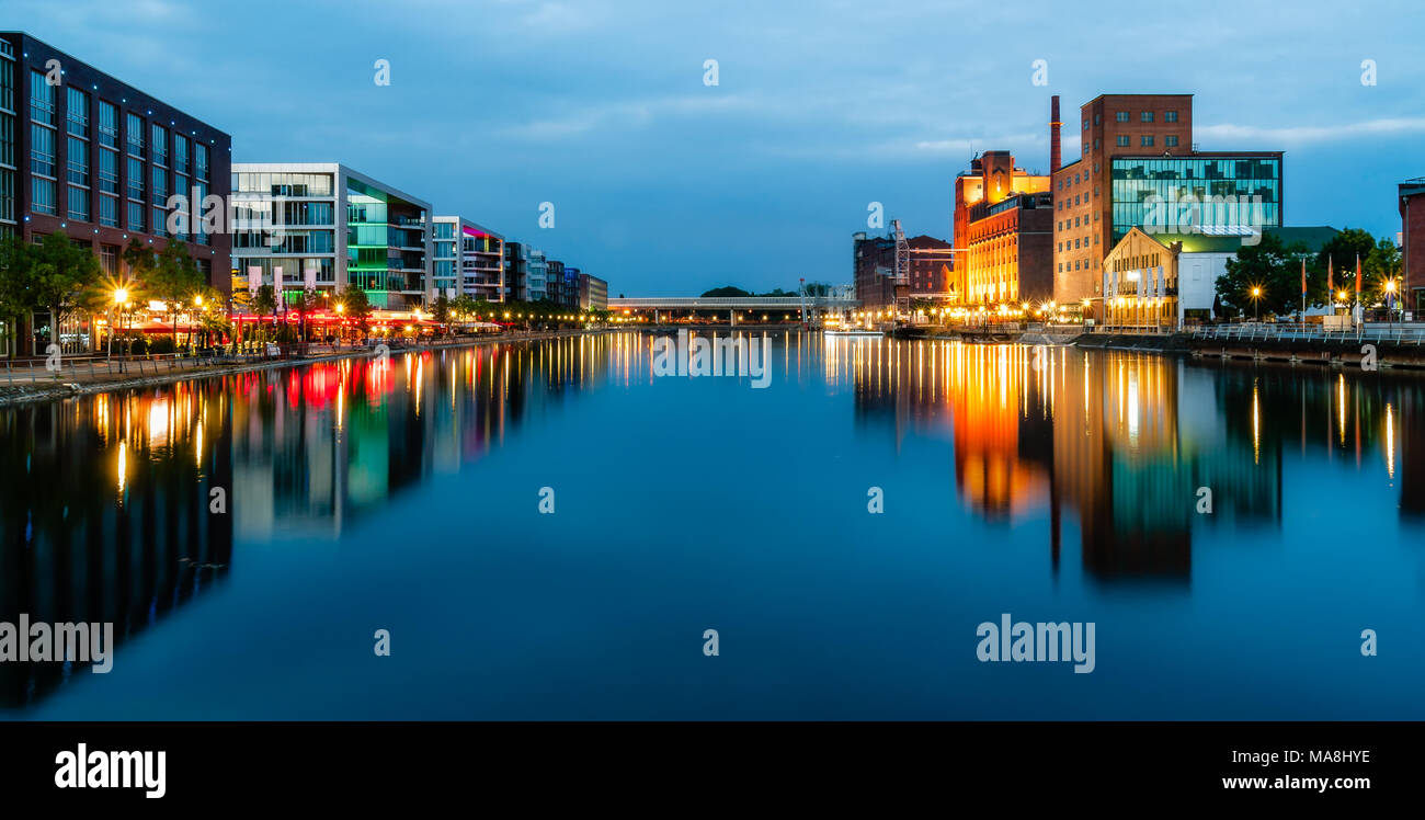 Panorama Duisburg Innenhafen by Night - Stock Image