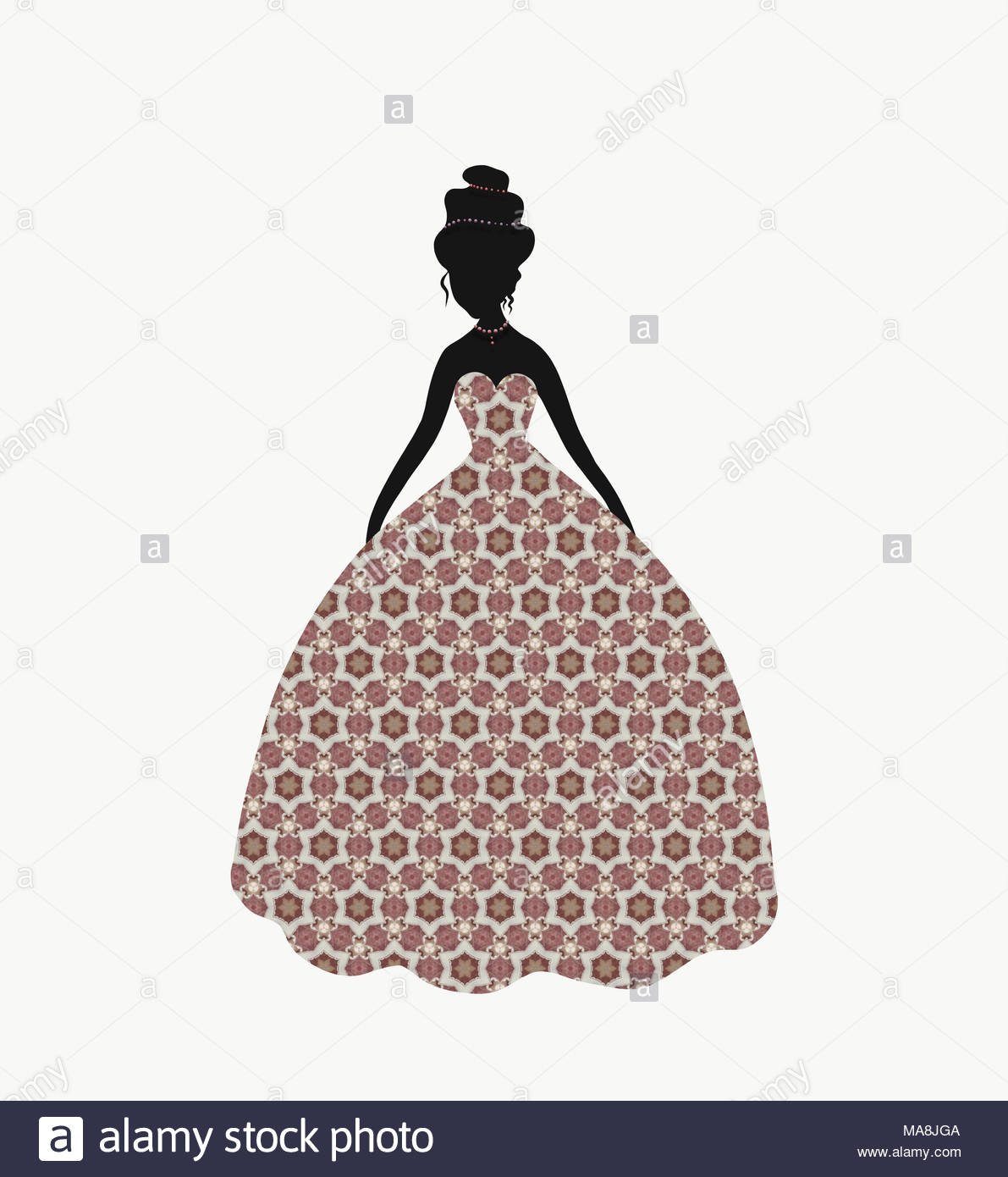 Beautiful lady in a lush dress with a pattern Stock Photo