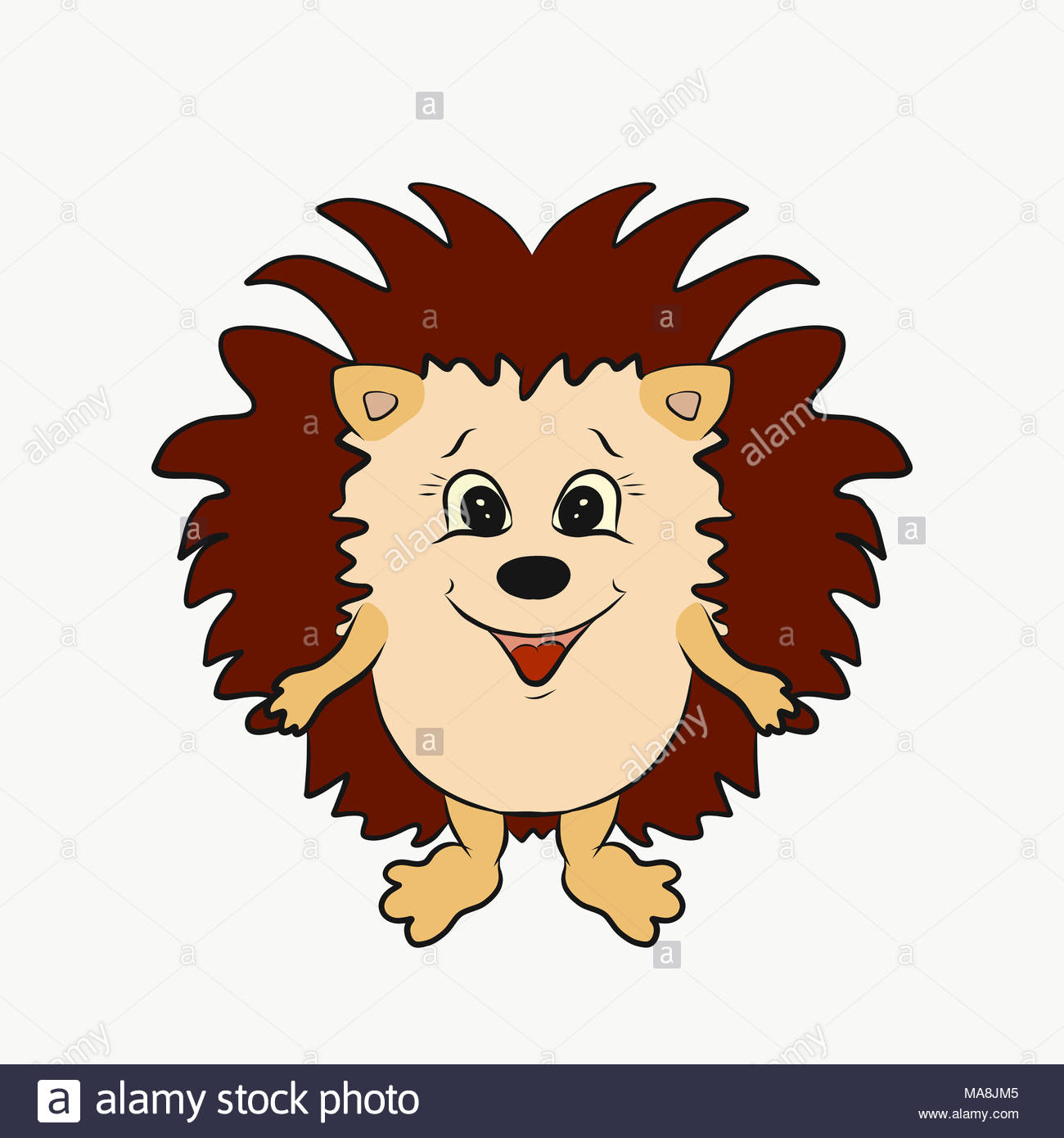 Little funny smiling hedgehog with big thorns - Stock Image