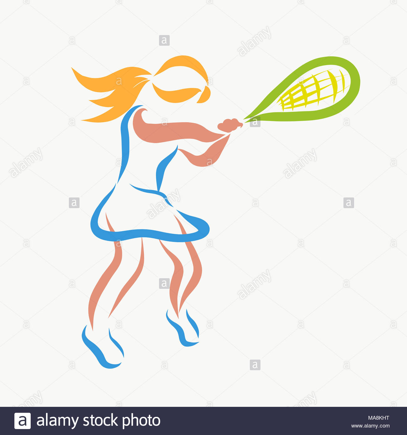 Young woman playing tennis, creative - Stock Image