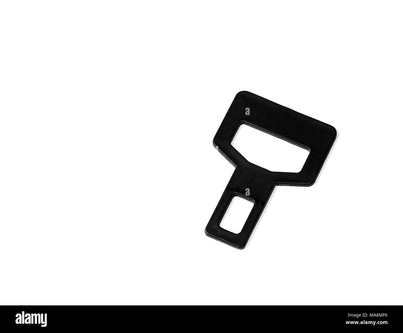 False Car Safety Belt Buckle isolated on white background, insecurity, unsecured person in vehicle, studio shot, copy space, - Stock Image