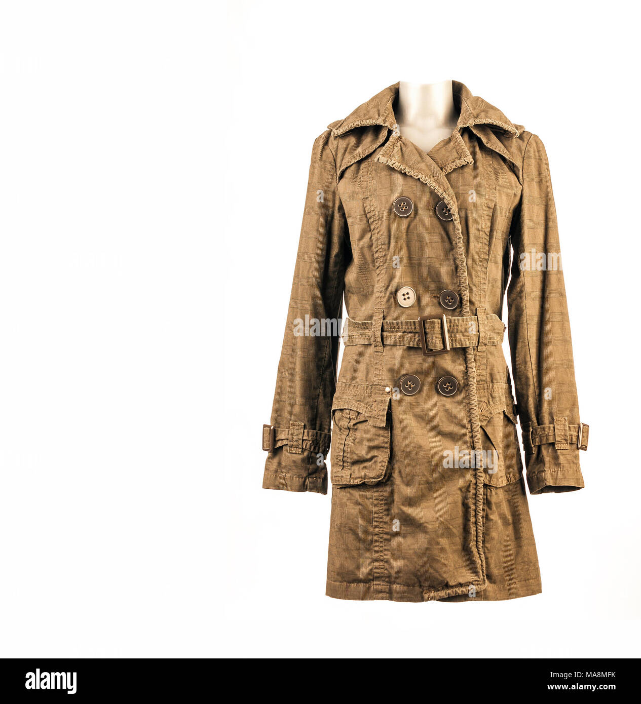 Woman's fashionable long, down coat, fall,winter,spring,autumn,trendy,modern,stylish,classic,isolated on white,studio shot,copy space. - Stock Image