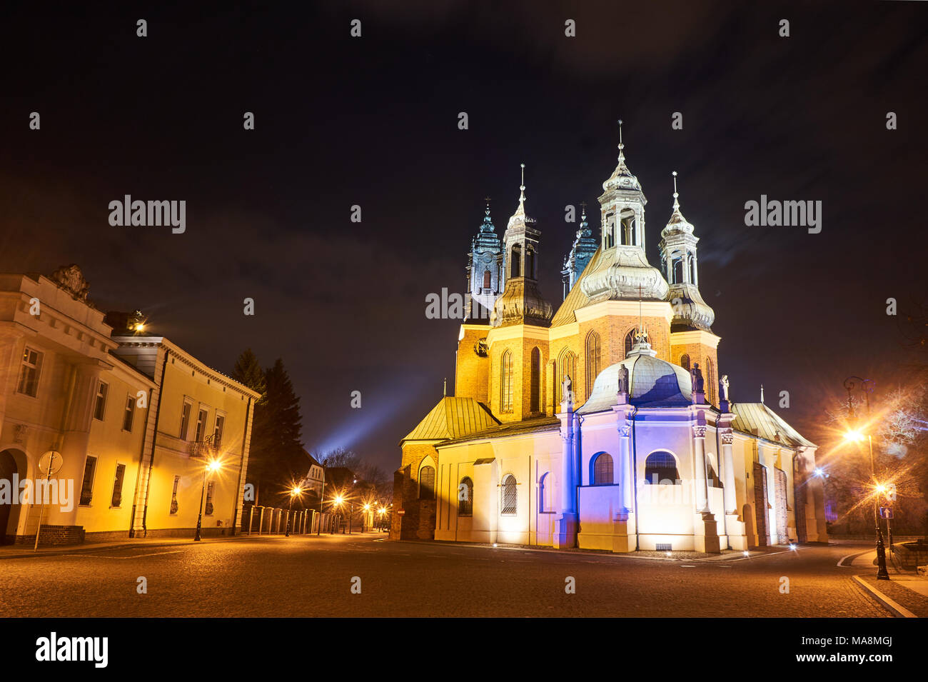 Gothic Cathedral Church With Towers Of In Evening Poznan