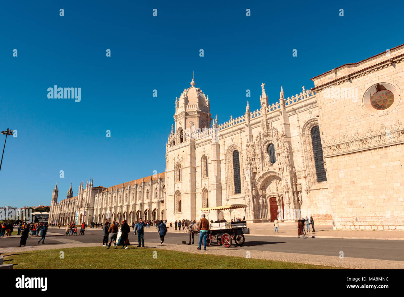 The Mosteiro dos Jeronimos is a highly ornate former monastery, situated in the Belem district of western Lisbon. - Stock Image