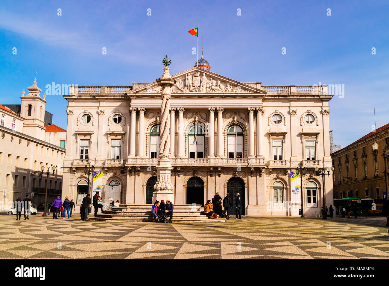 The Lisbon City Hall (Paos do Concelho de Lisboa) is the seat of the Lisbon municipal government. - Stock Image