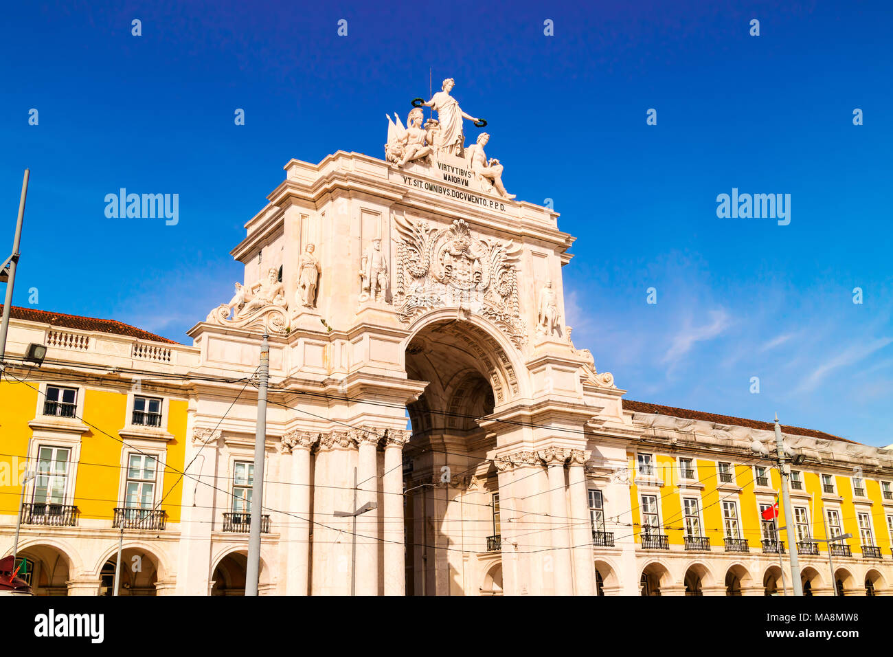 Rua Augusta Arch at the Praca do Comrcio, Commerce Square in English, is Lisbons main square. - Stock Image