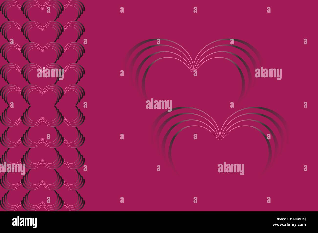 Abstract pattern of stacked heart shape. Concepts of love, romance, valentine's day and wedding. - Stock Vector