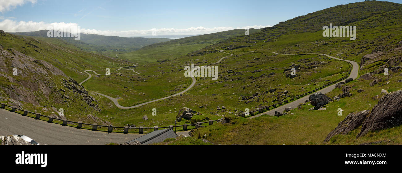 Tim Healy Pass Panorama on Beara Peninsula, West Cork, Ireland - Stock Image