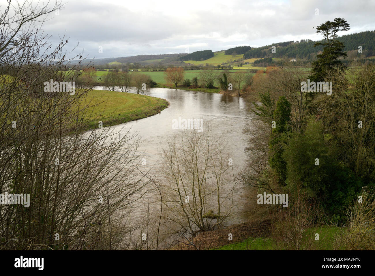 The Warren and River Wye, Hay on Wye viewed from the Radnorshire Bank - Stock Image