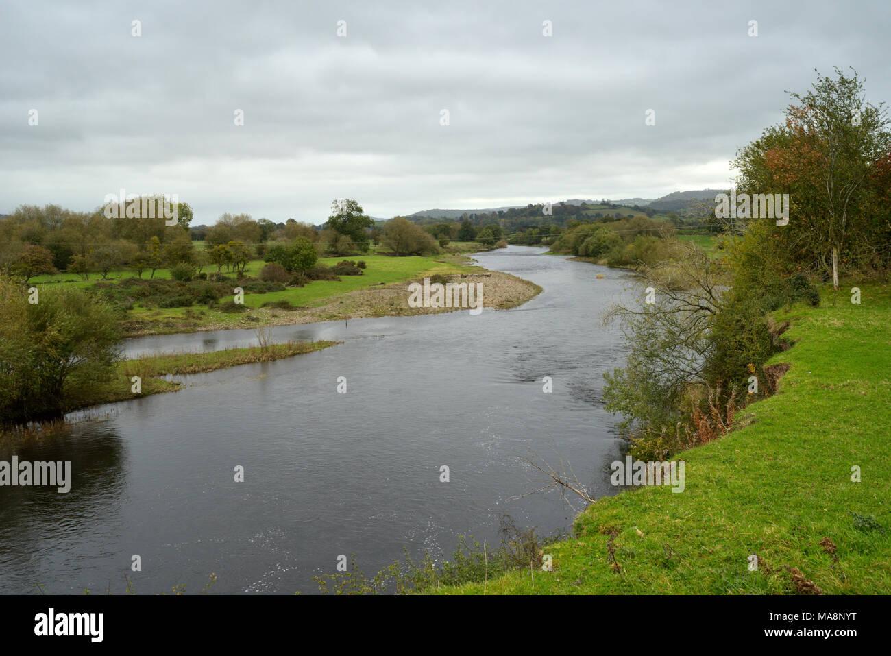 The River Wye near Llyswen (Glangwye) - Stock Image